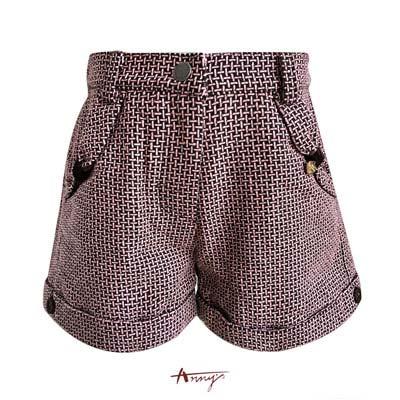 Annys高質壓紋布造型口袋短褲*5298咖啡