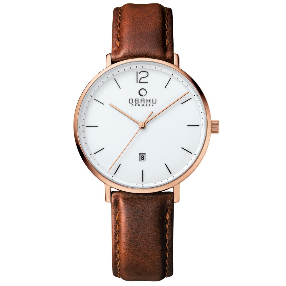 OBAKU 極致簡約時尚日期腕錶-玫瑰金框X咖啡皮帶/39mm