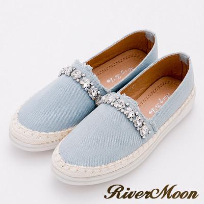 River&Moon休閒鞋-加大尺碼抽鬚丹寧晶鑽麻編休閒鞋-淺藍