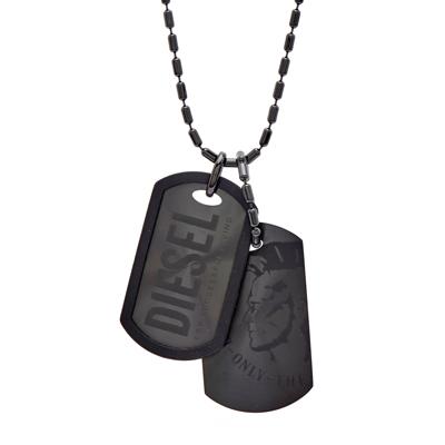 DIESEL 黑色陽剛款自我個性化軍牌項鍊
