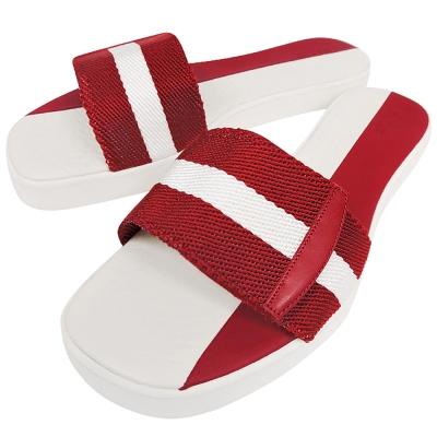 BALLY 紅白織帶厚底涼鞋-38/39號