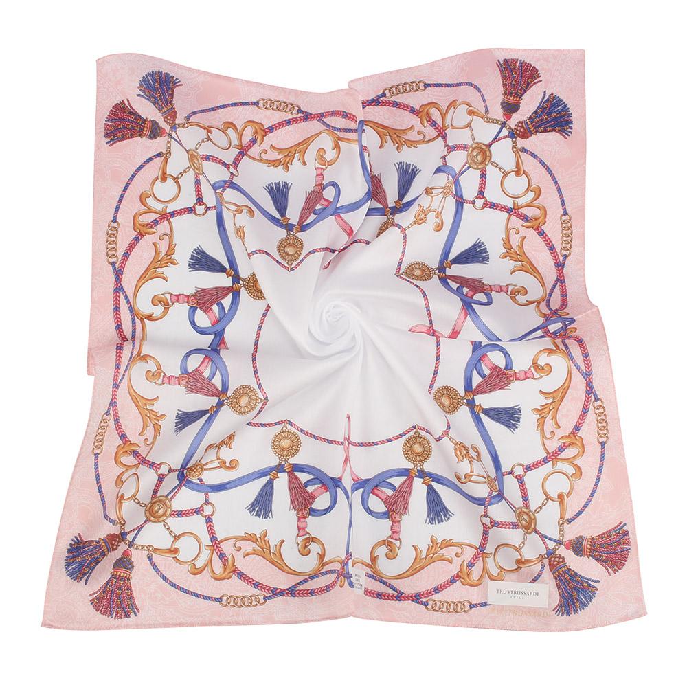 TRUSSARDI復古華麗流蘇繩索純棉領帕巾-玫瑰粉色