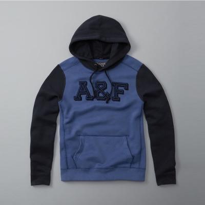 A&F 經典文字時尚撞色帽T-藍色 AF Abercrombie