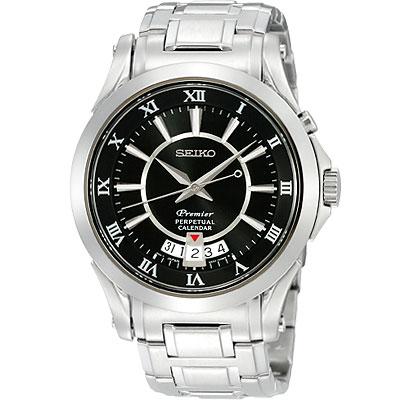 SEIKO Premier 萬年曆洗鍊腕錶(黑)