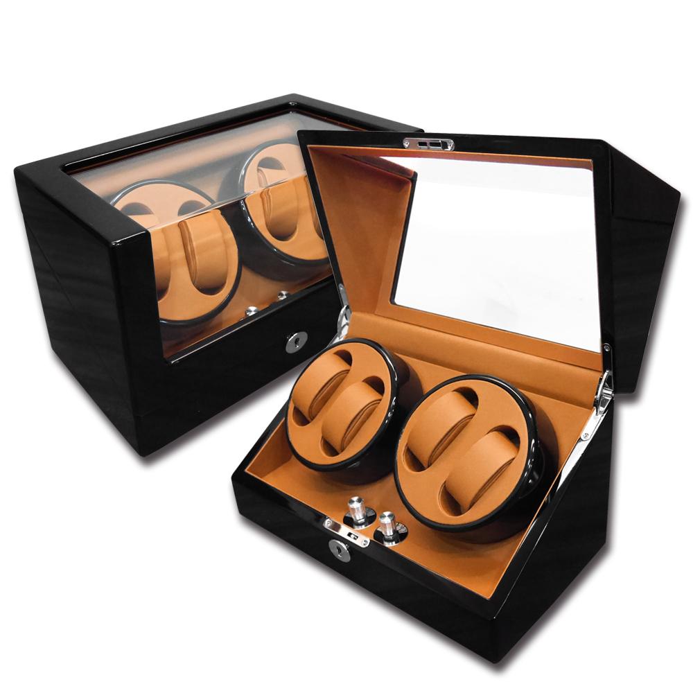 機械錶自動上鍊收藏盒 2旋4入錶座轉動 鋼琴烤漆 - 黃棕x黑