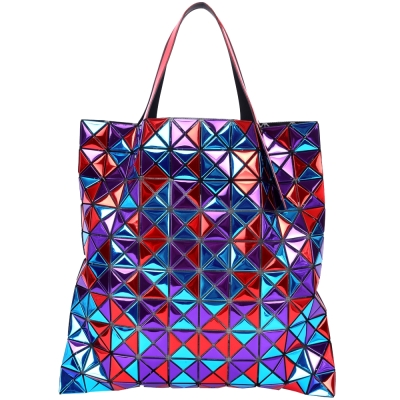 BAOBAO IsseyMiyake Platinum Mix 10x10紅藍紫拼色托特包