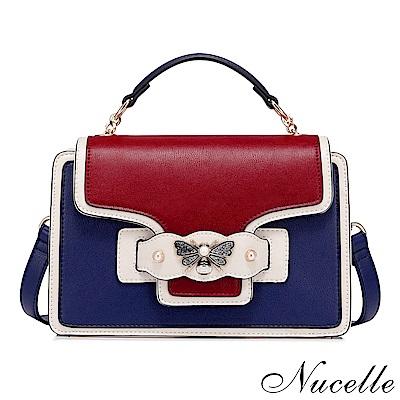 Nucelle 薇娜斯優雅撞色手提包 時尚藍