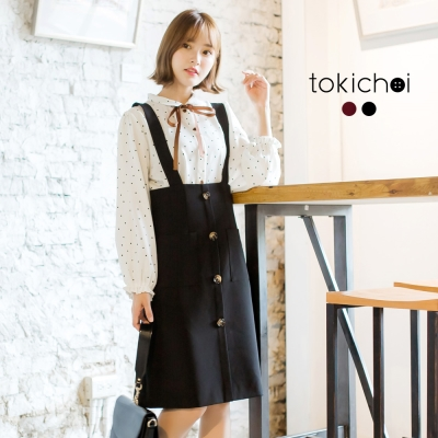 東京著衣 優雅高腰修身吊帶裙-S.M(共二色)