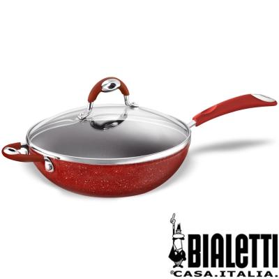義大利Bialetti唐納提羅美石家帶蓋不沾炒鍋32cm(摩登紅)