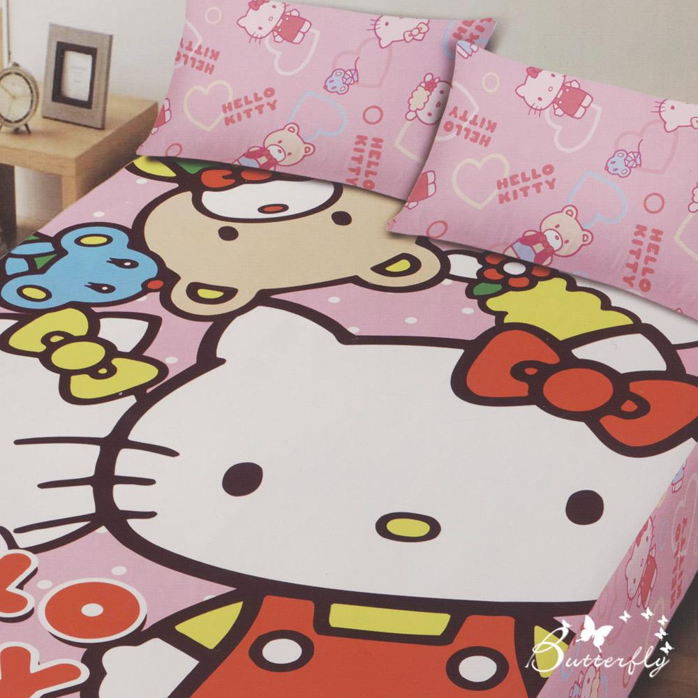 BUTTERFLY-Hello Kitty凱蒂貓 搖粒絨刷毛單人床包兩件組-歡樂同好會