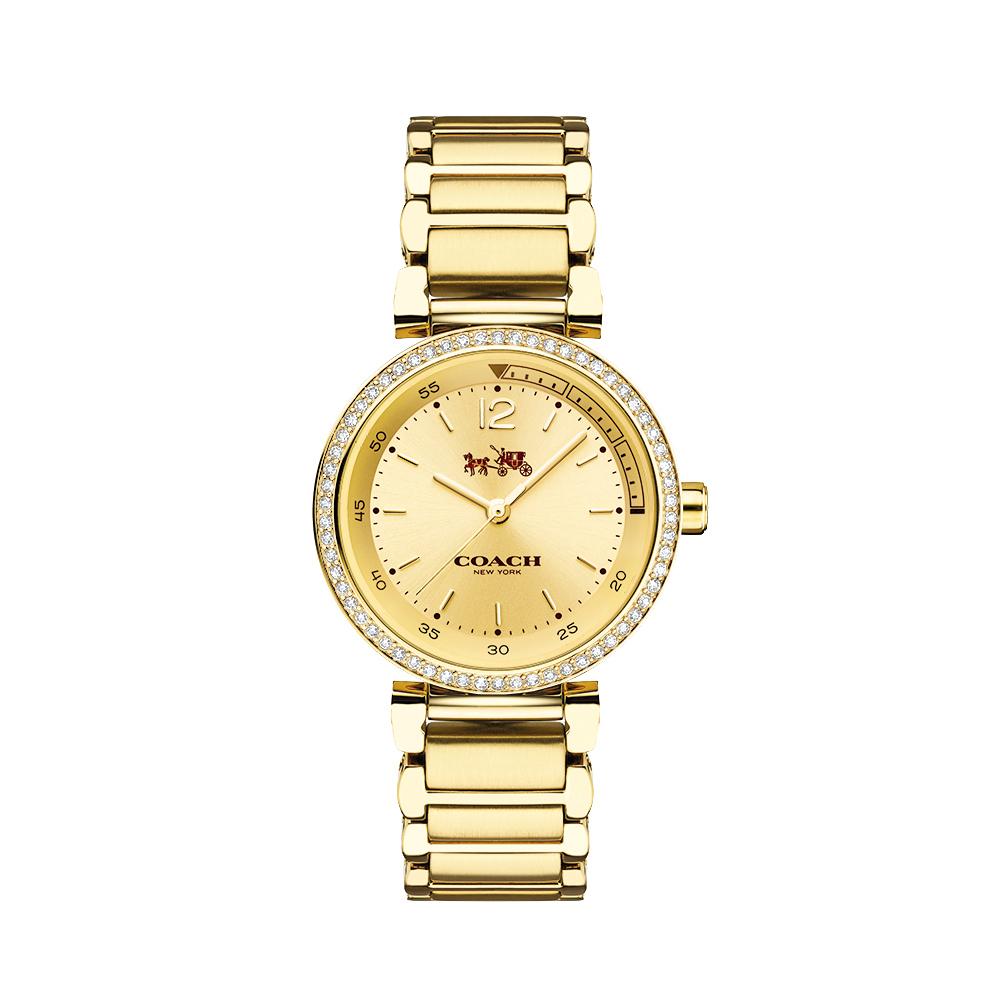 COACH Sport 1941金色陽光馬車圖騰晶鑽腕錶14502195-金30mm