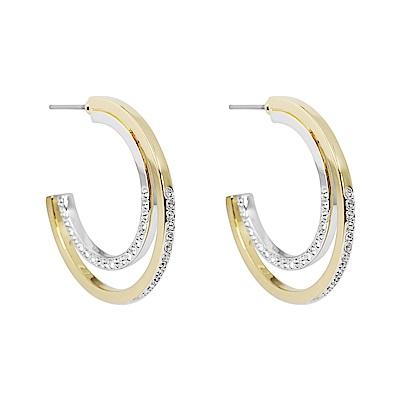 SWAROVSKI 施華洛世奇 璀璨水晶雙色圓環 金X銀C字耳環