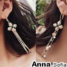 AnnaSofia 古典奢華十字 長款中大型不對稱耳針耳環(金系)