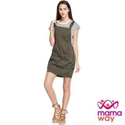 孕婦裙 吊帶裙 孕期水洗平織吊帶裙(共二色) Mamaway
