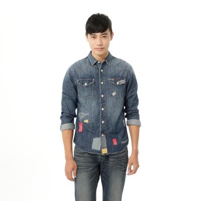 Lee 牛仔長袖刷白101+ 拼貼丹寧襯衫 男款-藍