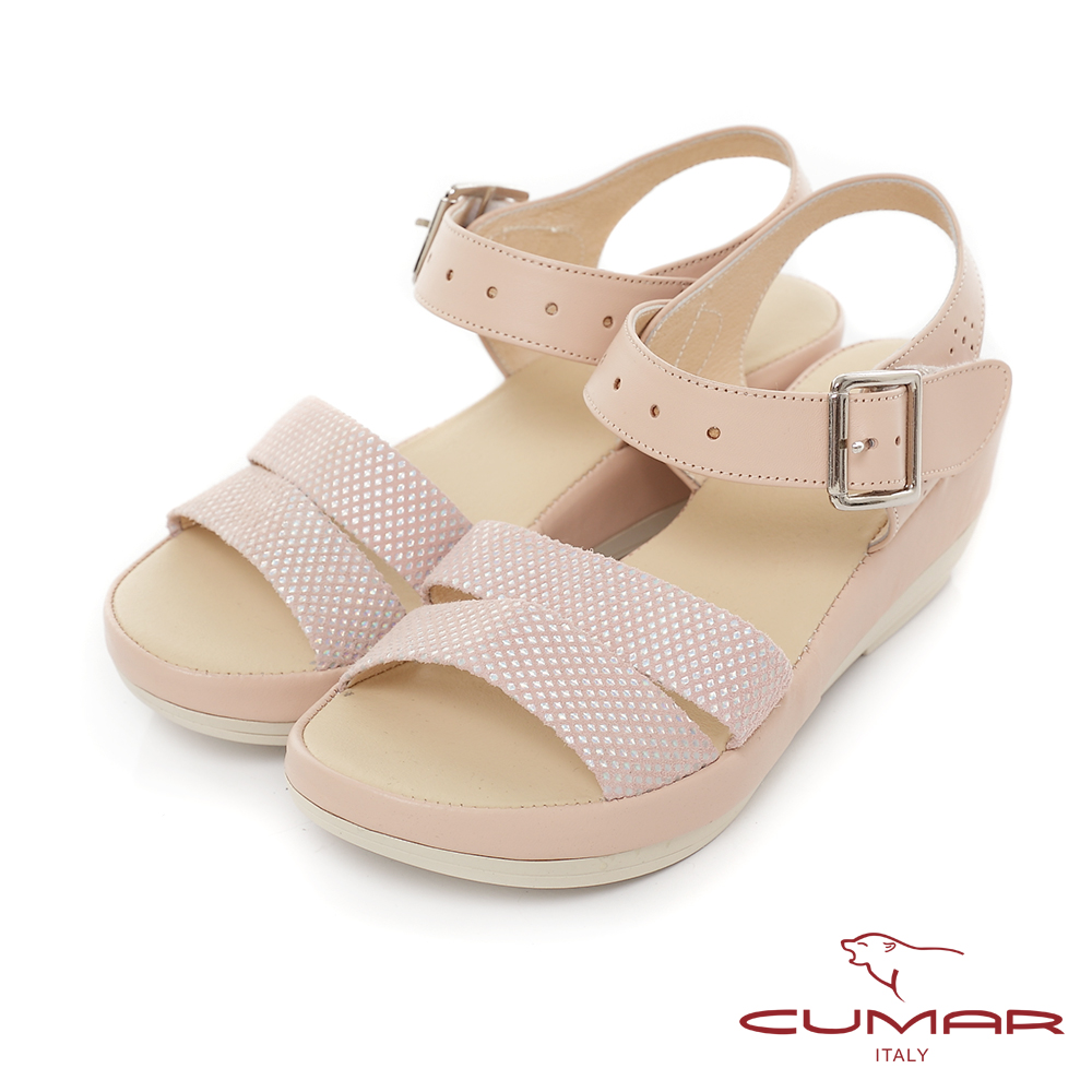 CUMAR慵懶主義-簡約撞色舒適厚底台涼鞋-粉紅