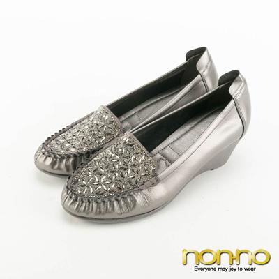 nonno-低調奢華幾何碎鑽楔型跟鞋-灰