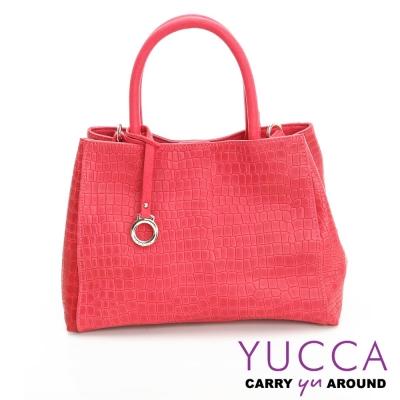 YUCCA -熱銷鱷魚紋牛皮氣質甜美手提包-紅色- D0103003C76