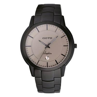 GOTO 悠遊自在輕薄時尚腕錶-黑灰/42mm