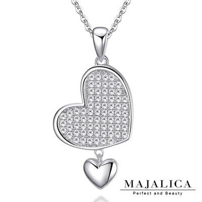 Majalica純銀項鍊愛心密釘鑲心心相映925純銀