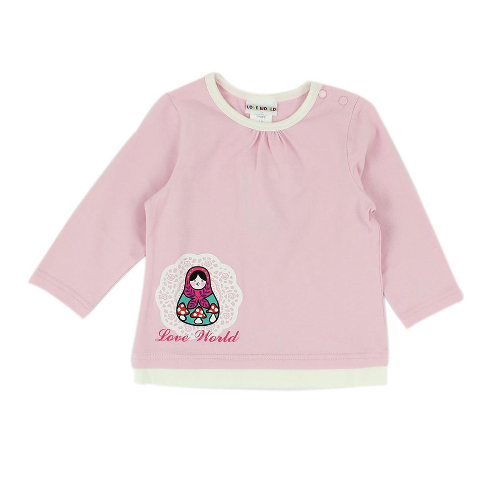 愛的世界 俄羅斯娃娃彈性肩扣長袖上衣/1~4歲