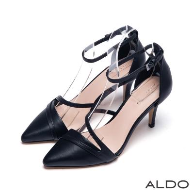 ALDO-法式女伶真皮原色壓紋金屬繫踝高跟鞋-黑色