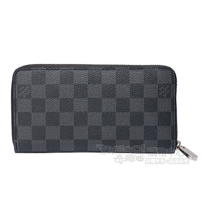 LV N63095 Damier Graphite棋盤格拉鍊長夾(黑灰)