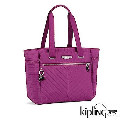 Kipling 手提包 紫紅素面-大