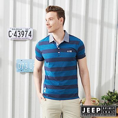 JEEP型男休閒條紋短袖POLO衫-藏青