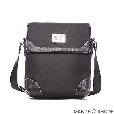 MANDE RHODE-貝加莫x真皮牛津布隨身側背包(98806C)