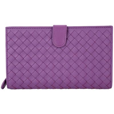 BOTTEGA VENETA 經典小羊皮編織釦式中夾(紫色)