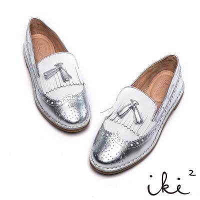 iki2新膚觸-雙層流蘇真皮雕花平底鞋-閃耀銀
