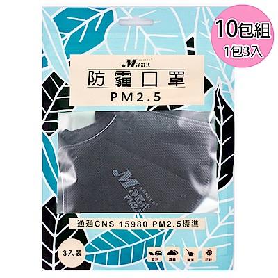 淨舒式 防霾口罩PM2.5 (10包組一包3入)(黑)