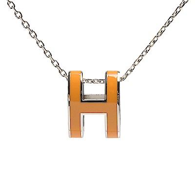 HERMES 經典Pop H立體簍空橢圓LOGO項鍊(柑橙色X銀)