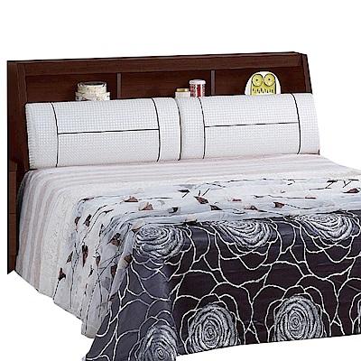 品家居 丹尼6尺胡桃木紋皮革雙人加大床頭箱-182x27x97cm免組