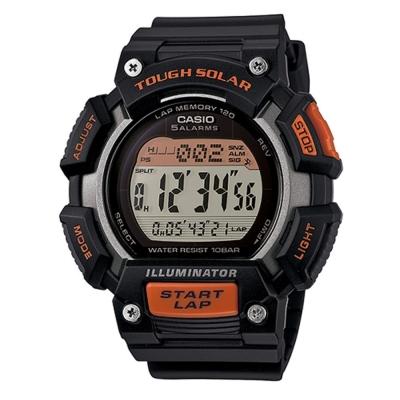CASIO 太陽能全方位亮眼配色運動風數位錶(STL-S110H-1A)-橘x灰/52.7mm
