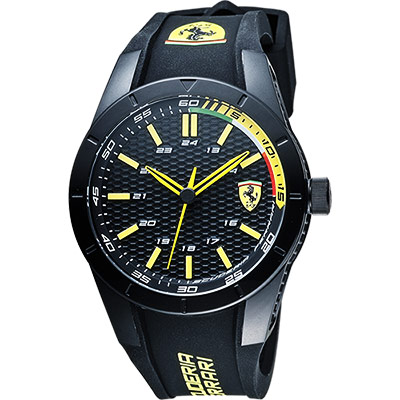 Scuderia Ferrari 法拉利 RedRev 競速手錶-黑x黃時標/44mm