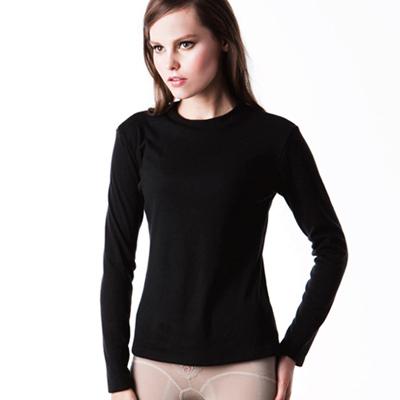 【LADY】輕柔系列 中空紗_立領發熱保暖衣(黑色)