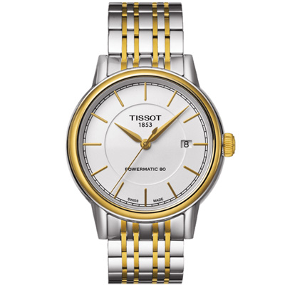 TISSOT Carson Powermatic 80經典機械腕錶-銀x金/39mm