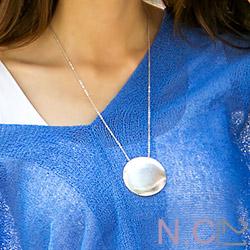 N.C21-正韓 質感圓型金屬牌長項鍊 (共二色)