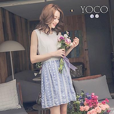 東京著衣-yoco 小清新女孩刺繡無袖雪紡洋裝-XS.S.M(共二色)