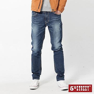5th STREET 1970微破粗線直筒牛仔褲-男-石洗藍