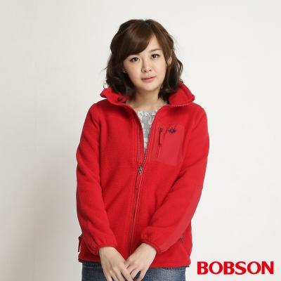 BOBSON 女款雙面刷毛搖粒布質外套(紅13)