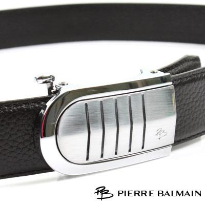 PB 皮爾帕門-經典圓角盾形切線霧亮Logo款-頭層牛皮自動扣皮帶-805