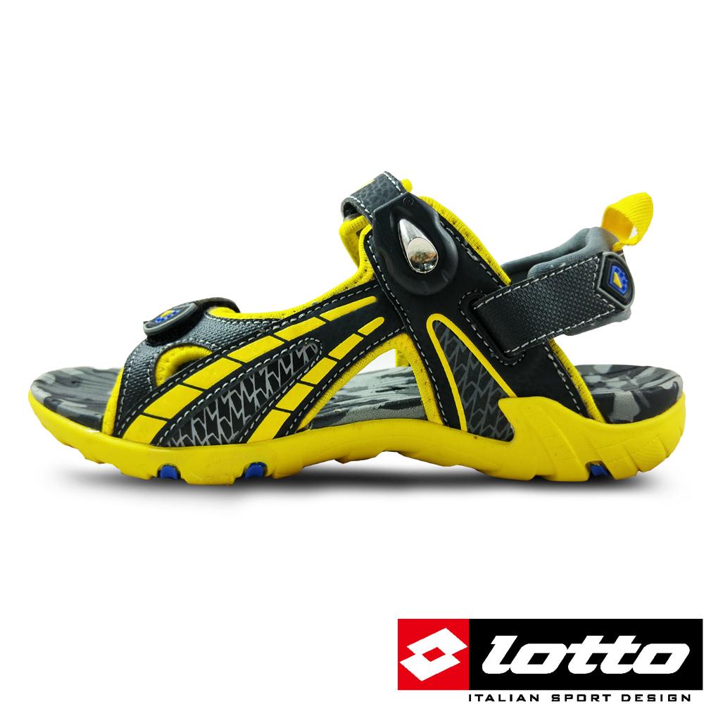 LOTTO - 義大利 男大童 磁扣運動涼鞋 (黑/黃)