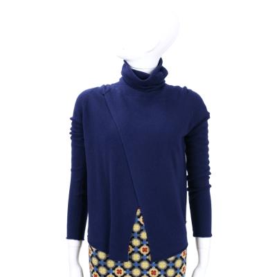 Andre Maurice  深藍色高領裁片造型長袖上衣(100% CASHMERE)