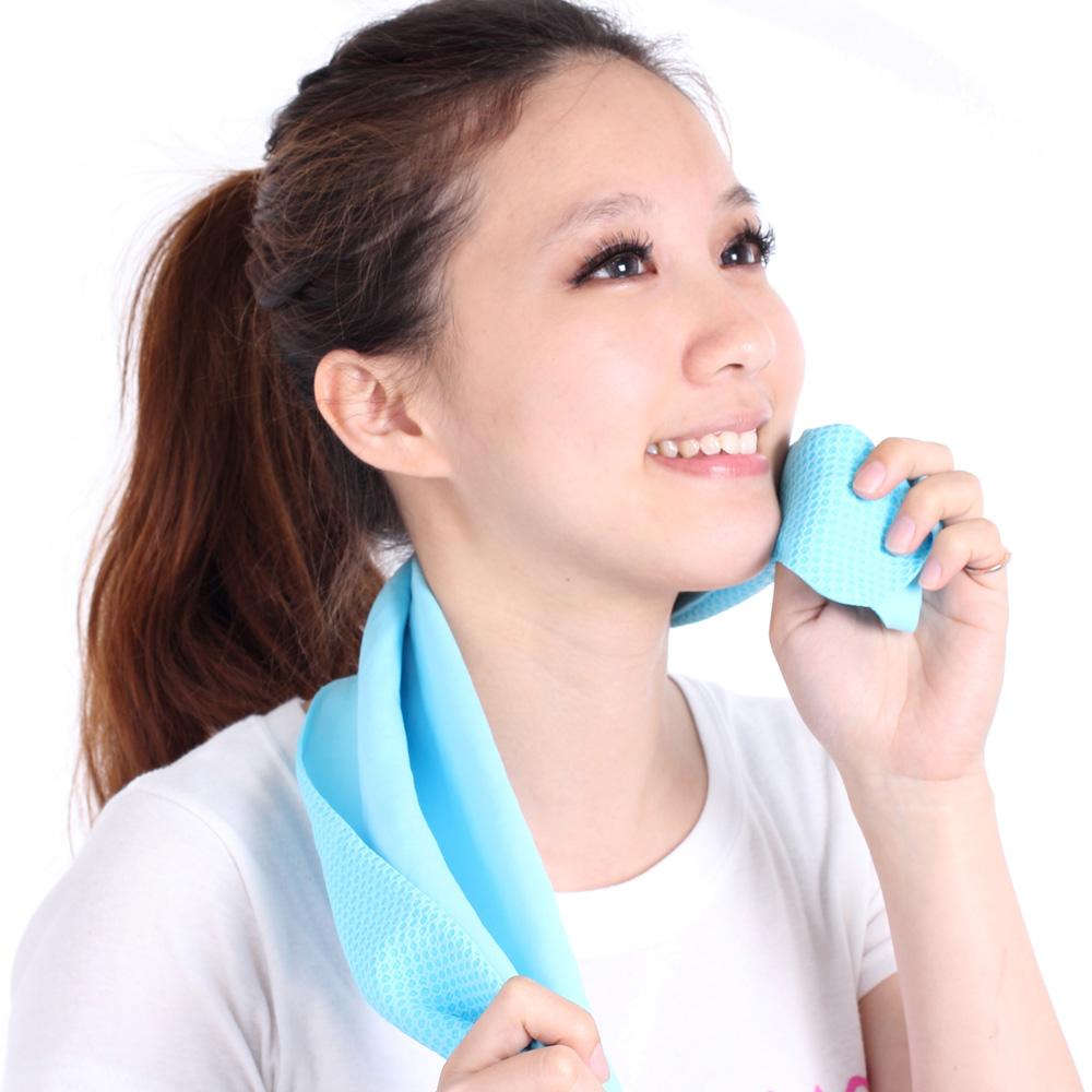 Clover瞬間涼感多用途冰涼巾(小領巾)-冰晶藍