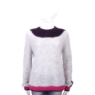 KENZO 撞色拼接馬海毛針織長袖上衣(灰色)