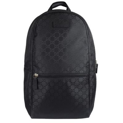 GUCCI 經典雙G緹花緞面皮飾邊厚棉後背包.黑