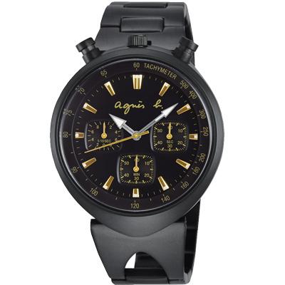 agnes b. 前衛獨特 三眼計時腕錶(BX9003X1)-黑/39mm